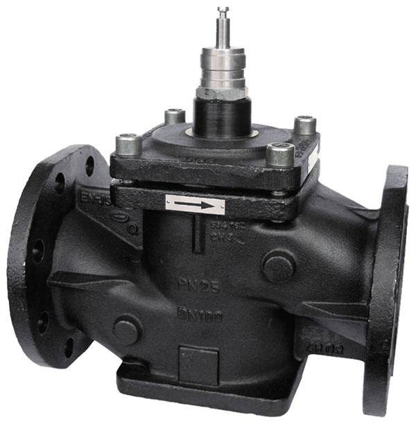 Pressure-relieved 2-way flanged valve, PN 25 (pn.)