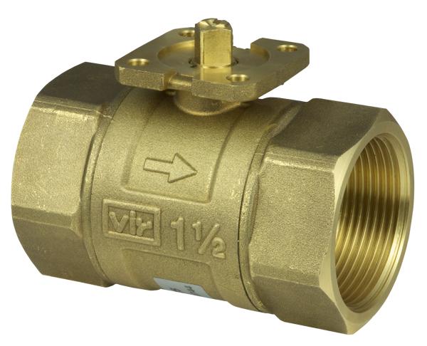 2-way cut-off ball valve with female thread, PN 40