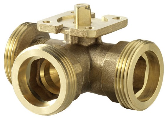 3-way change-over ball valve (T) with male thread, PN40